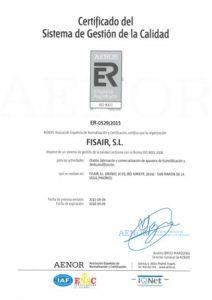Certificado de Sistema de Gestión de Calidad | associations Fisair